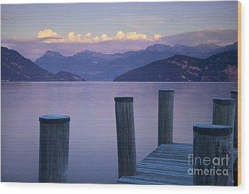 Sunset Dock Wood Print by Brian Jannsen