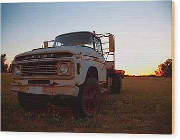 Wood Print featuring the digital art Sunset Dodge by Serene Maisey