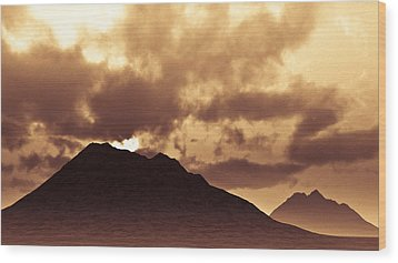 Sunset Fiction Wood Print by Meir Ezrachi