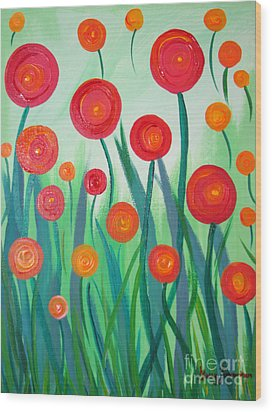 Sunset Flowers Wood Print by Stacey Zimmerman