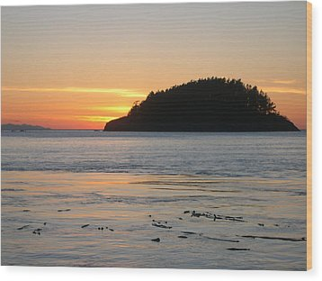 Sunset From Deception Pass Wood Print