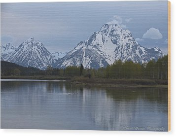 Sunset Grand Tetons Wood Print by Charles Warren