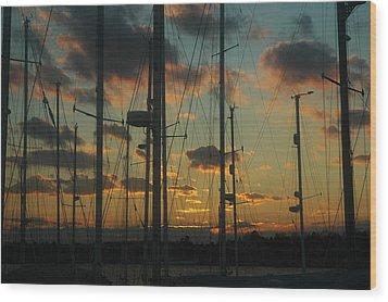 Sunset Harbor Wood Print by Rafael Figueroa