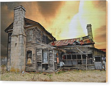 Sunset Homestead Wood Print by Marty Koch