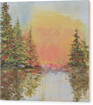 Wood Print featuring the painting Sunset Horizon by Vic  Mastis