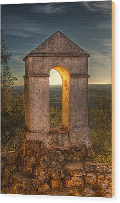Sunset In Monfrague Castle Wood Print