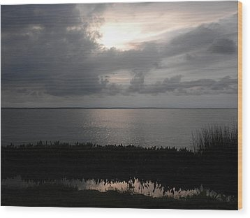 Sunset In Silver Wood Print by Erica Breetz