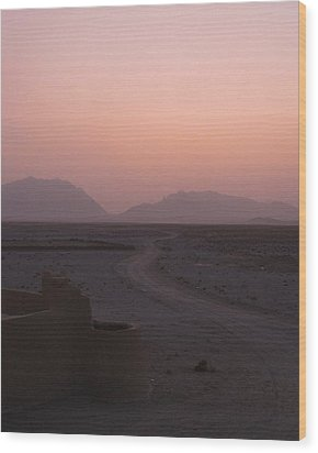 Sunset In The Persian Desert Wood Print by Tia Anderson-Esguerra