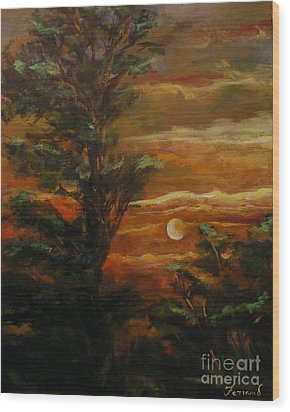 Wood Print featuring the painting Sunset  by Karen  Ferrand Carroll