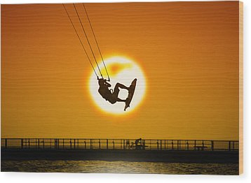 Sunset Kite Boarder Wood Print by Moments In 3 X 4