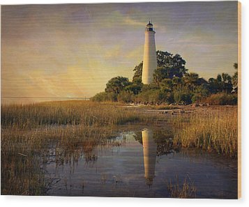 Sunset Lighthouse 3 Wood Print by Marty Koch