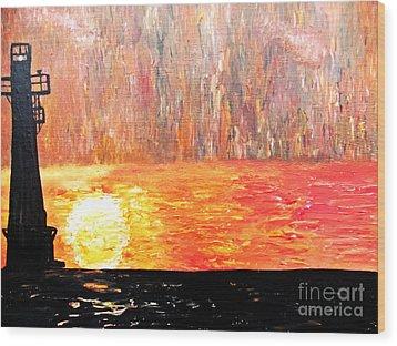 Sunset Lighthouse Wood Print by Ayasha Loya