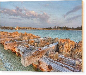 Sunset Longboat Pass Bridge  Wood Print by Jenny Ellen Photography