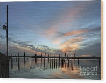 Wood Print featuring the photograph sunset marina Everglades by Dan Friend