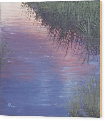 Wood Print featuring the painting Sunset Marsh by Cindy Lee Longhini