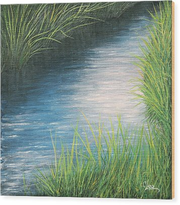 Wood Print featuring the painting Sunset Marsh Series Afternoon by Cindy Lee Longhini