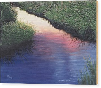 Wood Print featuring the painting Sunset Marsh Series by Cindy Lee Longhini