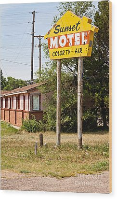 Sunset Motel Wood Print by Lawrence Burry