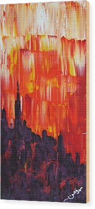 Sunset Of Melting Waterfall Behind Chicago Skyline Or Storm Reflecting Architecture And Buildings Wood Print