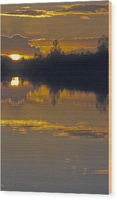 Sunset On A Lake Wood Print by Patrick Kessler