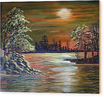 Sunset On Lake Windsor Wood Print by Fram Cama