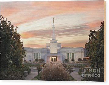 Sunset On Lds Montreal Temple Wood Print