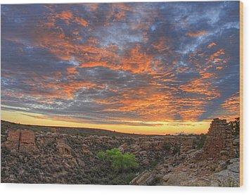 Sunset On Puebloan Ruins In Hovenweep Wood Print by Matt Champlin