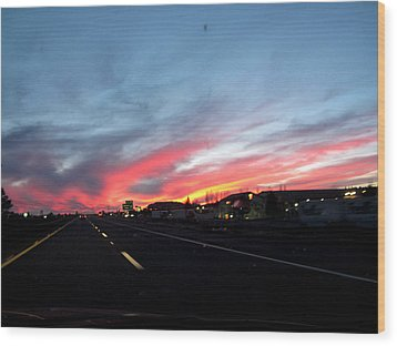 Sunset On Route 66 Wood Print by Kathy Corday