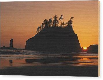 Sunset On Second Beach Wood Print by Phil Schermeister