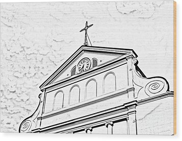 Sunset On St Louis Cathedral In Jackson Square French Quarter New Orleans Photocopy Digital Art Wood Print by Shawn O'Brien