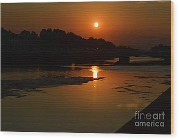 Sunset On The Arno River Wood Print by Kathleen Pio