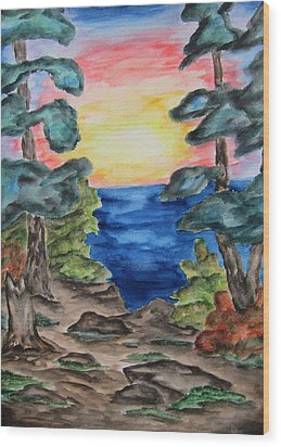 Wood Print featuring the painting Sunset On The Great Lakes-wcs by Cheryl Pettigrew