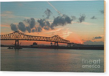 Sunset On The Mississippi  Wood Print