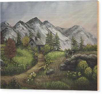 Sunset On The Mountain Cabin Wood Print by Gail Darnell