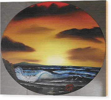 Sunset On The Seashore Wood Print by Amity Traylor