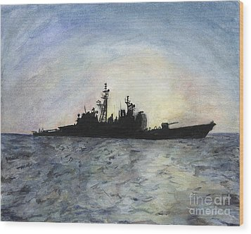 Sunset On The Uss Anzio Wood Print by Sarah Howland-Ludwig