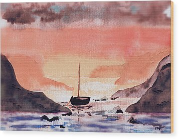 Wood Print featuring the painting Sunset On The Water by Paula Ayers