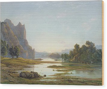 Sunset Over A River Landscape Wood Print by Francis Danby