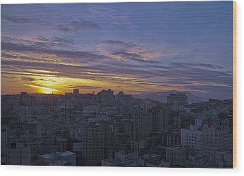 Sunset Over City Wood Print