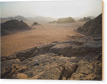 Sunset Over Jordan Wadi Rum Rock Wood Print by Jason Jones Travel Photography