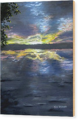 Sunset Over Mystic Lakes Wood Print by Jack Skinner