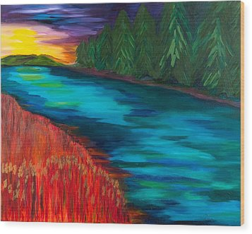 Sunset Over Pines Wood Print by Dani Altieri Marinucci