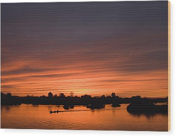 Sunset Over River Wood Print by Axiom Photographic