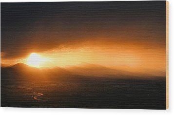 Sunset Over Salt Lake City Wood Print by Kristin Elmquist
