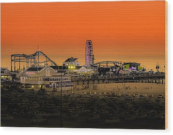 Sunset Over Santa Monica Pier Wood Print by Trevor Seitz