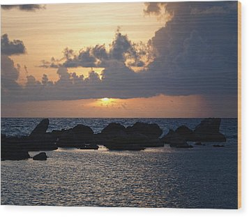 Sunset Over The Ocean Wood Print by Philip G
