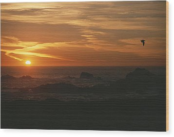 Sunset Over The Pacific Ocean Wood Print by Todd Gipstein