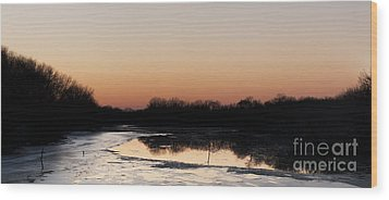 Sunset Over The Republican River Wood Print