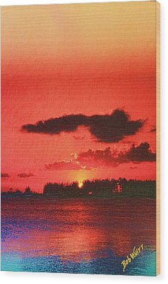 Sunset Over Three Lakes Wood Print