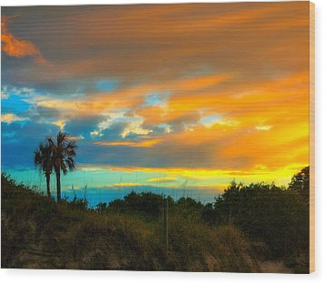 Sunset Palm Folly Beach  Wood Print by Jenny Ellen Photography